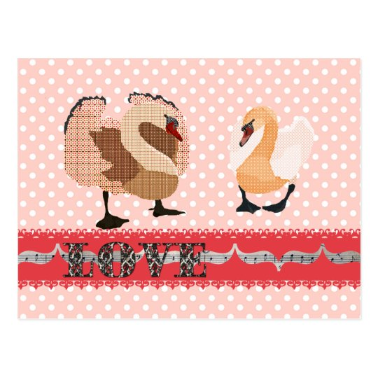 Swanky Swans Pink Pokadot Love  Postcard