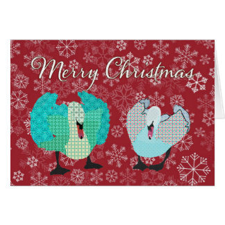 Swanky Swans Red Snowflake Christmas Greeting Greeting Card