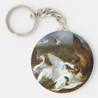 Swannery Invaded by Eagles by Edwin Henry Landseer Basic Round Button Key Ring