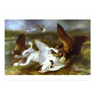 Swannery Invaded by Eagles by Edwin Henry Landseer Postcard