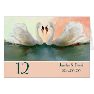 Swans at Sunset Custom Table Number Card