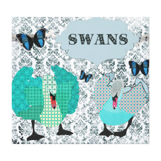 Swans Blue Boho Art Canvas Gallery Wrapped Canvas
