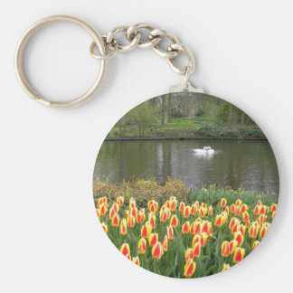 Swans by a lake with tulips, Keukenhof Basic Round Button Key Ring