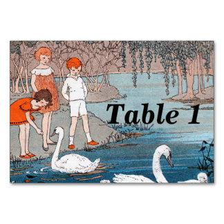 Swans Children Vintage Lake Scene Card