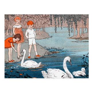 Swans Children Vintage Lake Scene Postcard