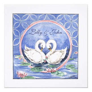 """Swans Eternal Circle"" Invitation 5.25"" Square Invitation Card"