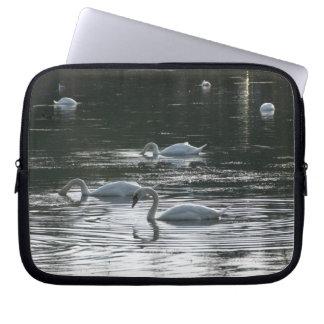 Swans Feeding Roath Park Lake Cardiff Laptop Computer Sleeve