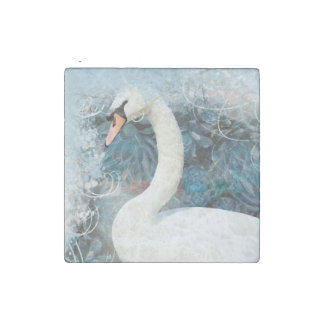 Swans floral swirls   PERSONALIZE Stone Magnet