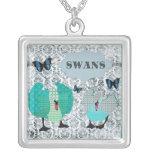 Swans Grunge Damask Necklace