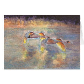 Swans Headed Home at Sunset Card