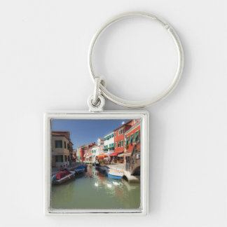 Swans in canal, Burano Island, Venice, Italy 2 Silver-Colored Square Key Ring