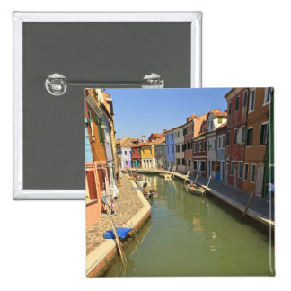 Swans in canal, Burano Island, Venice, Italy 15 Cm Square Badge