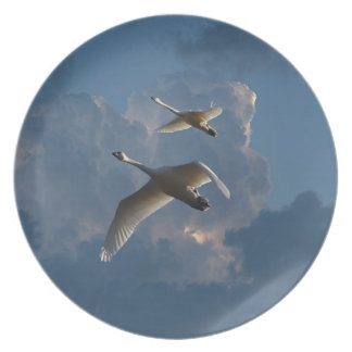 SWANS IN FLIGHT PARTY PLATES