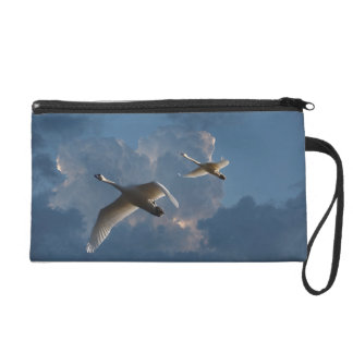 SWANS IN FLIGHT WRISTLET CLUTCHES