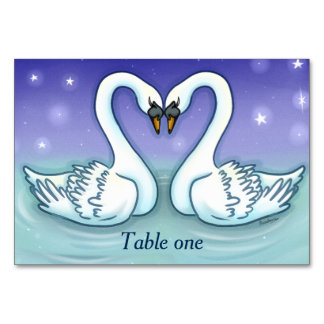 Swans in love Customisable table number wedding