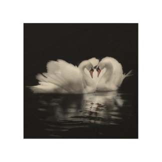 Swans in love picture wood wall decor
