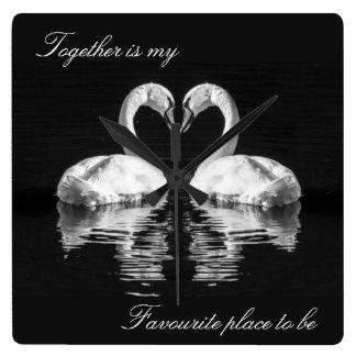 Swans in love wildlife clock
