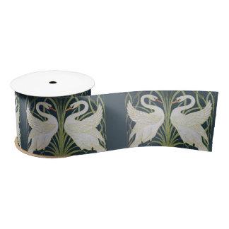 Swans on Blue Nouveau Birds Satin Ribbon
