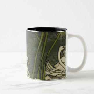 Swans on Lilies Two-Tone Coffee Mug