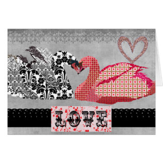 Swans Retro Heart Greeting Greeting Cards