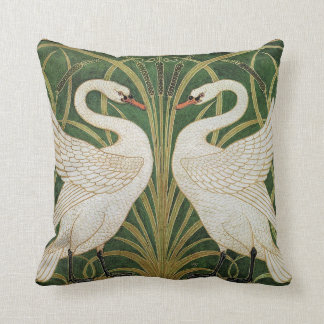 Swans, Rush & Iris by Walter Crane Cushion