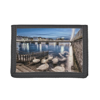 Swans shadows at Geneva lake, Switzerland Tri-fold Wallets