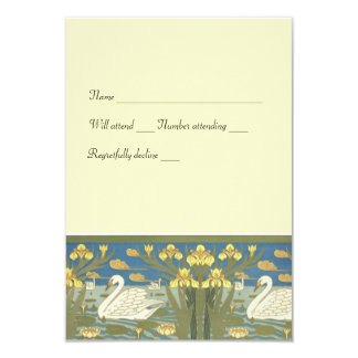 Swans Swimming rsvp with envelopes 9 Cm X 13 Cm Invitation Card