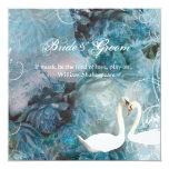 Swans vintage swirl teal pink 13 cm x 13 cm square invitation card