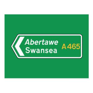 Swansea, UK Road Sign Postcard