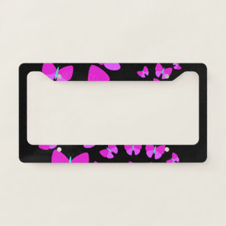 Swarm of Artistic Butterflies License Plate Frame