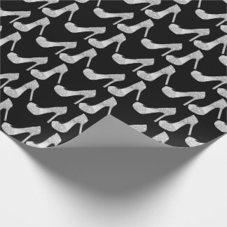 Swarovski Crystals Diamond High Heels Shoes Black Wrapping Paper