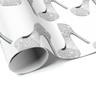 Swarovski Crystals Diamond High Heels Shoes White Wrapping Paper