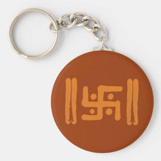 Swastika : Indian Religious Symbol Basic Round Button Key Ring