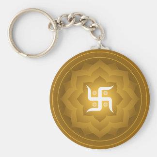Swastika Lotus Design Basic Round Button Key Ring