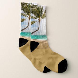 Swaying Palm Trees Tropical Scene Socks 1