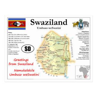 Swaziland map Postcard
