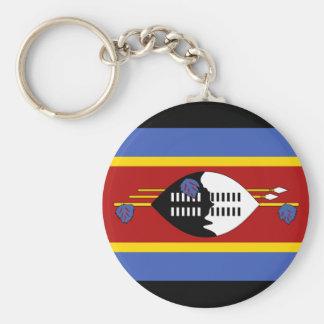 Swaziland National World Flag Basic Round Button Key Ring