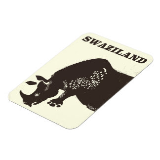 Swaziland Rhino vintage style travel poster Magnet