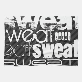 Sweat; Black & Dark Gray Stripes Tea Towel