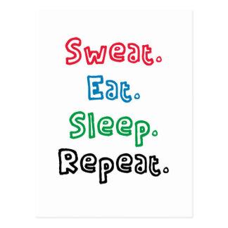 Sweat. Eat. Sleep. Repeat. Postcard
