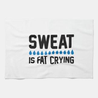Sweat Is Fat Crying Tea Towel