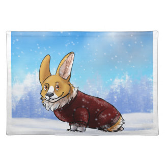 sweater corgi 2 placemat