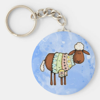 sweater sheep basic round button key ring