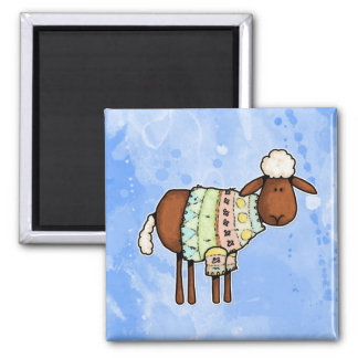sweater sheep square magnet