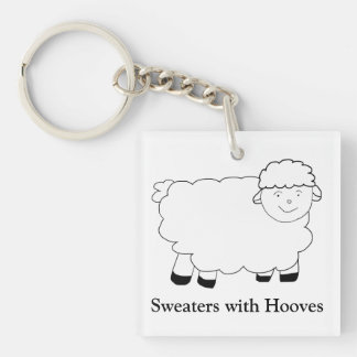 Sweaters With Hooves Double-Sided Square Acrylic Key Ring