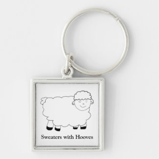 Sweaters With Hooves Silver-Colored Square Keychain
