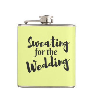 Sweating for Wedding Custom Vinyl Wrapped Flask