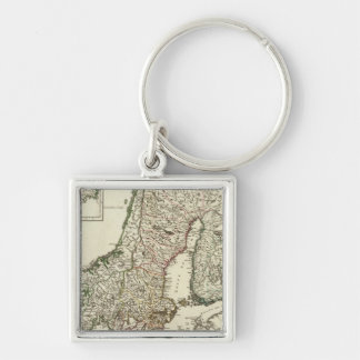 Sweden and Norway 10 Silver-Colored Square Key Ring