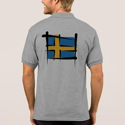 Sweden Brush Flag T-shirts