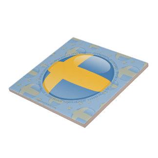 Sweden Bubble Flag Small Square Tile